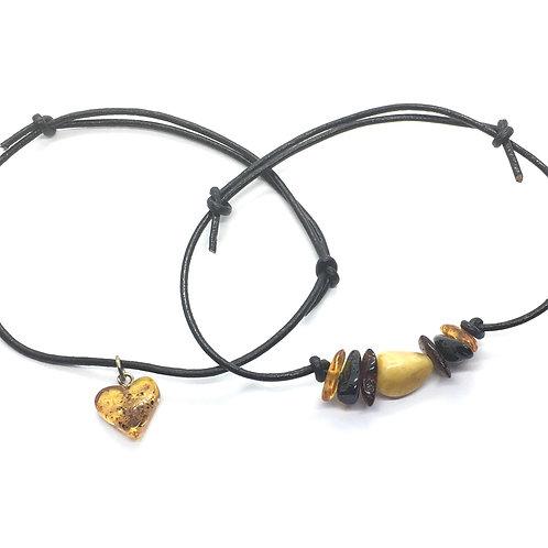 Amber Leather Strap Bracelets