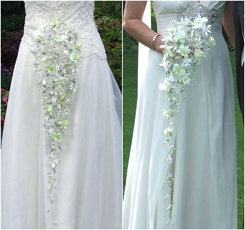Teardrop bouquets in white