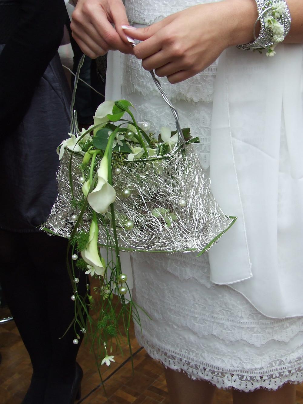 Floral handbag with calla lilies