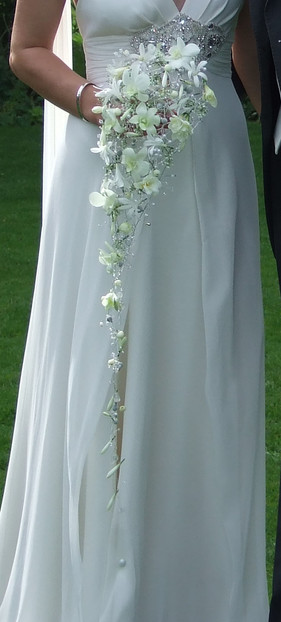Trailing bridal bouquet with white orchids