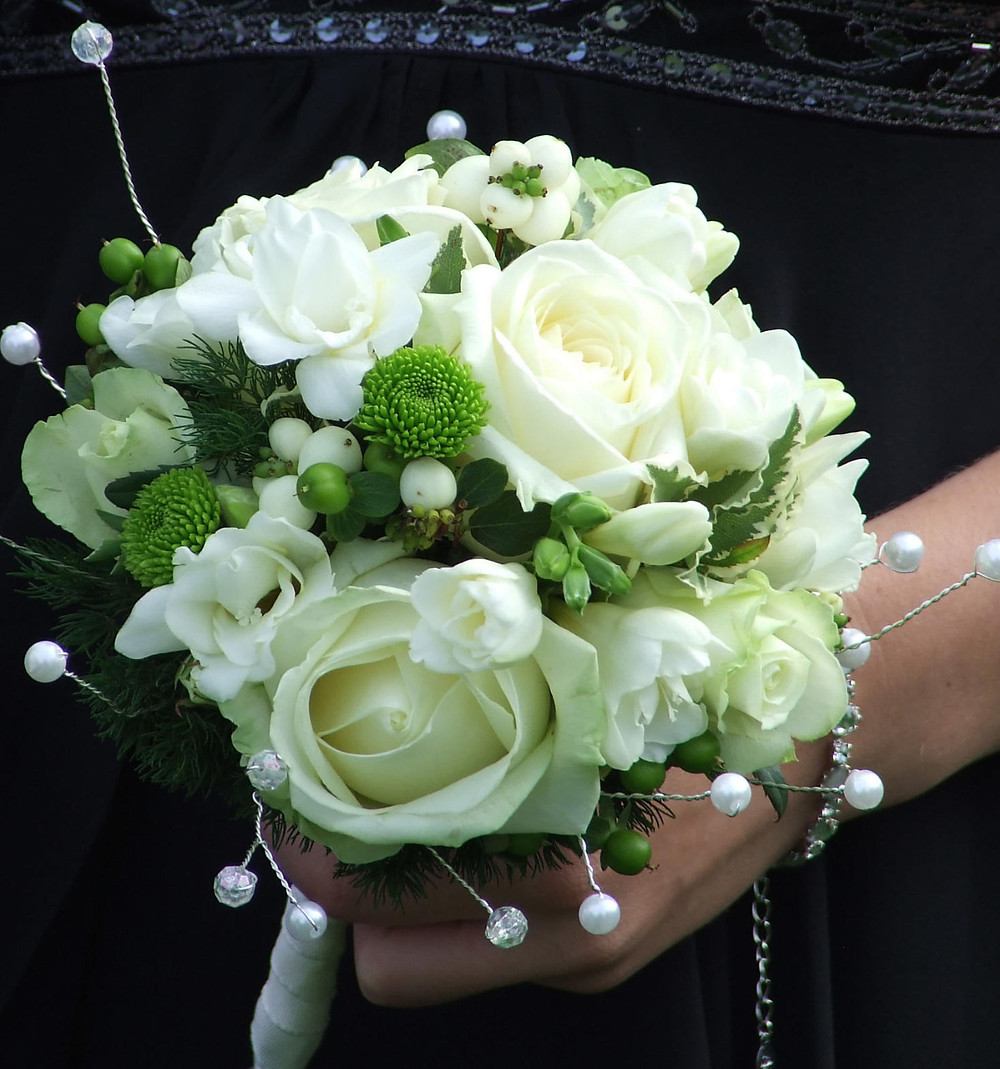 Handtied bouquet with white and green flowers