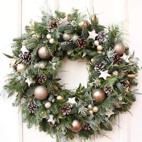 luxury christmas wreath with baubles