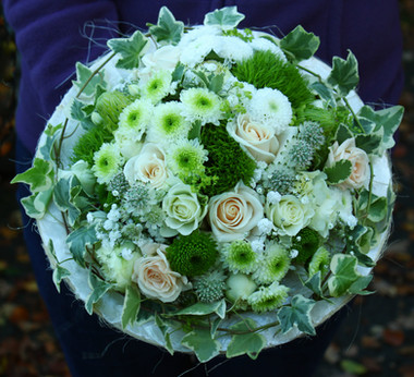 Bridal bouquet in soft green and pastel