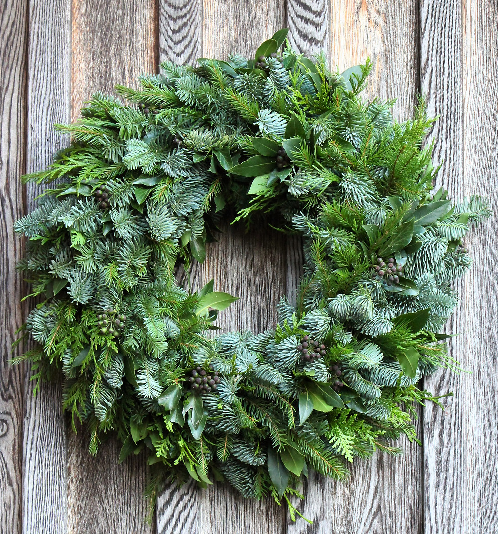 handmade seasonal foliage christmas wreath