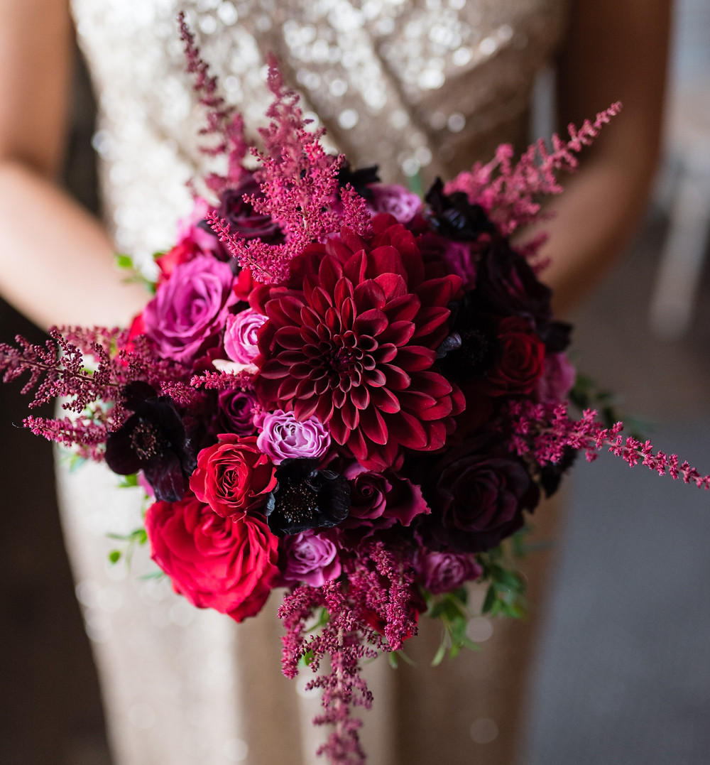 handtied bridal bouquet in rich red colours