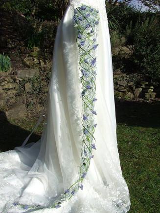 Cascade bridal bouquet with blue muscari