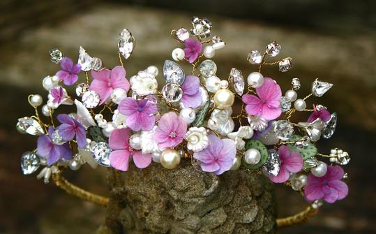 Handmade floral tiara with hydrangea