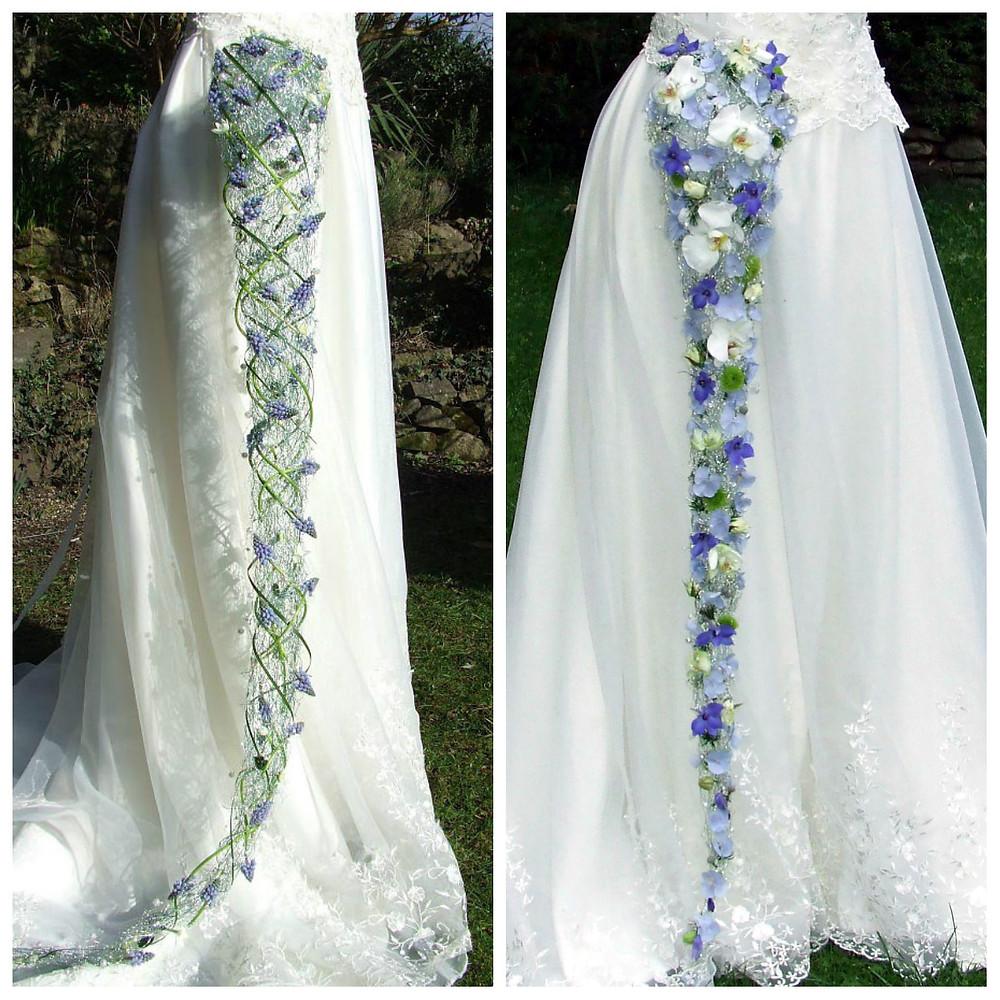 Long cascade bouquets in blue