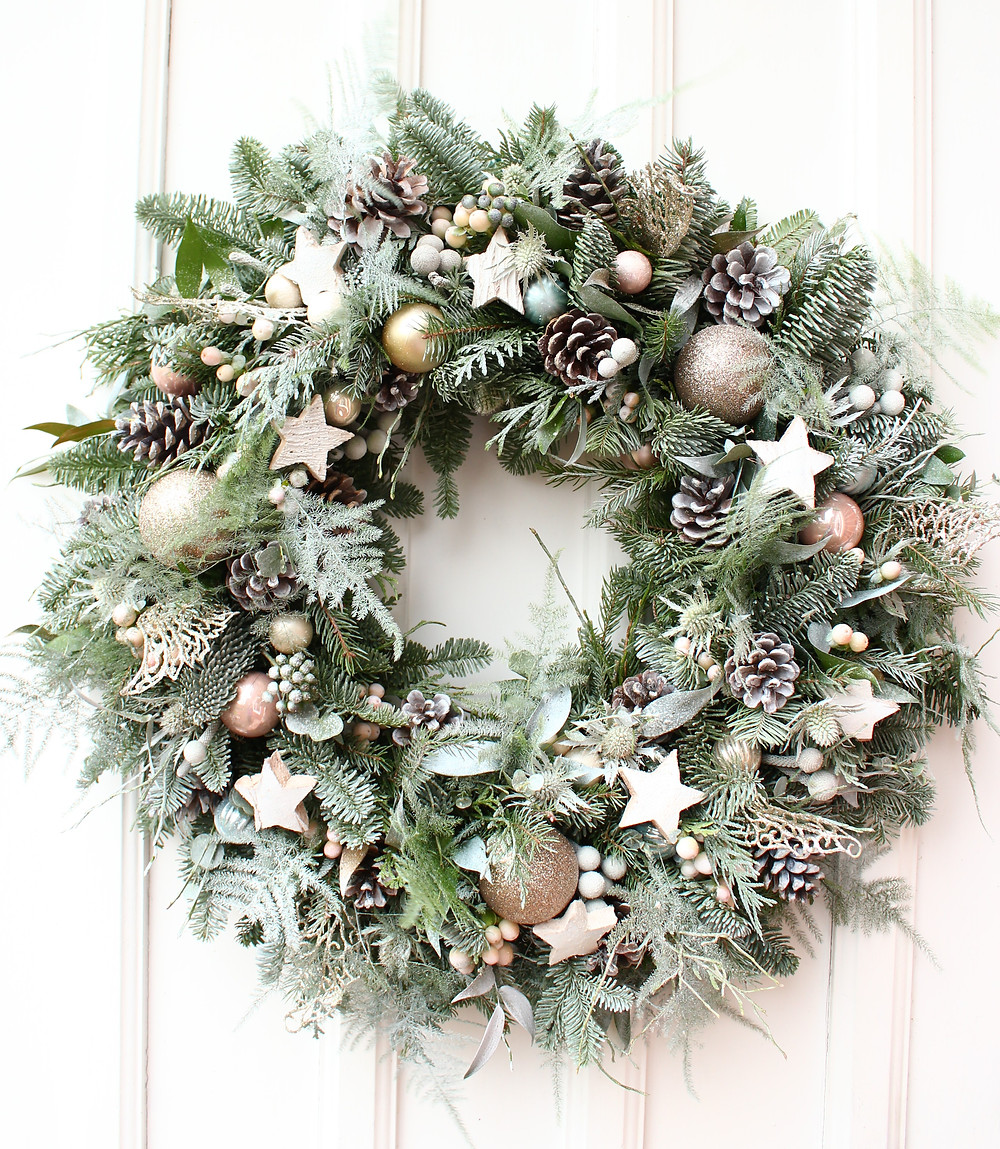 Fresh snow dusted handmade christmas wreath
