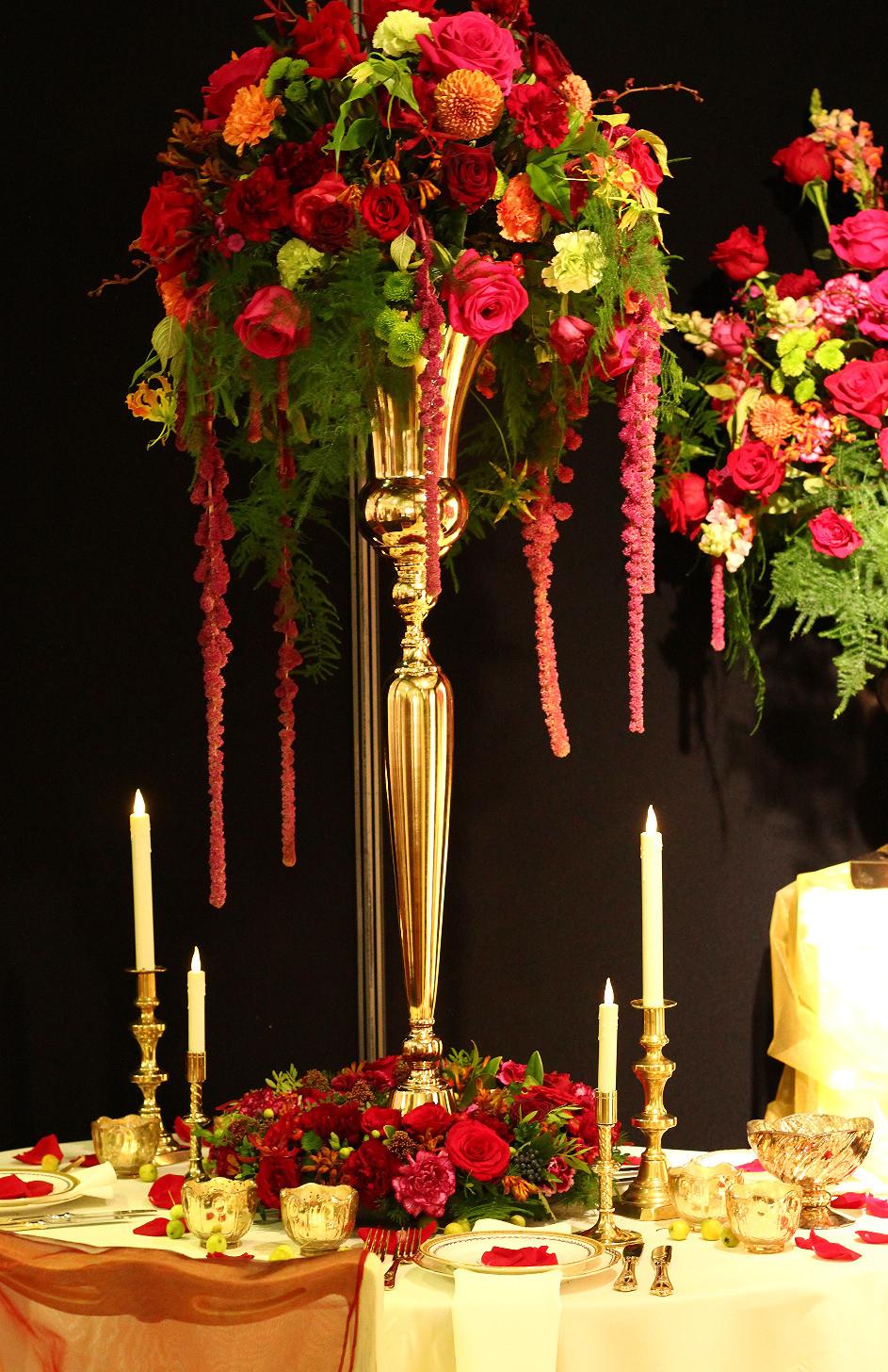 Luxurious tall table arrangement