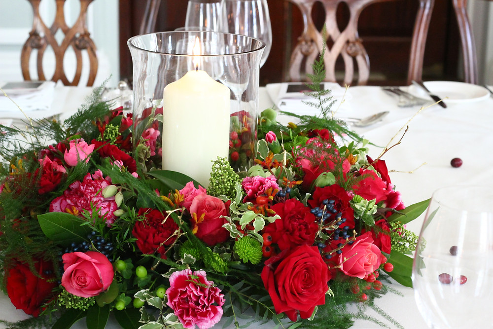 Luxury table arrangement with candle