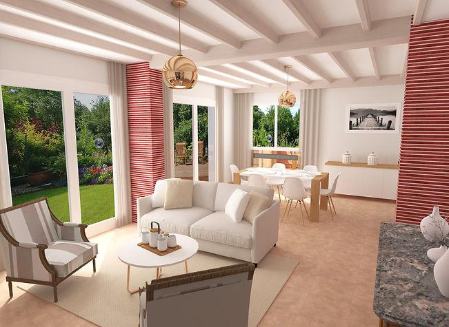 home stagging salon séjour salle à manger et chambre dressing rose cuivre brique et marbre