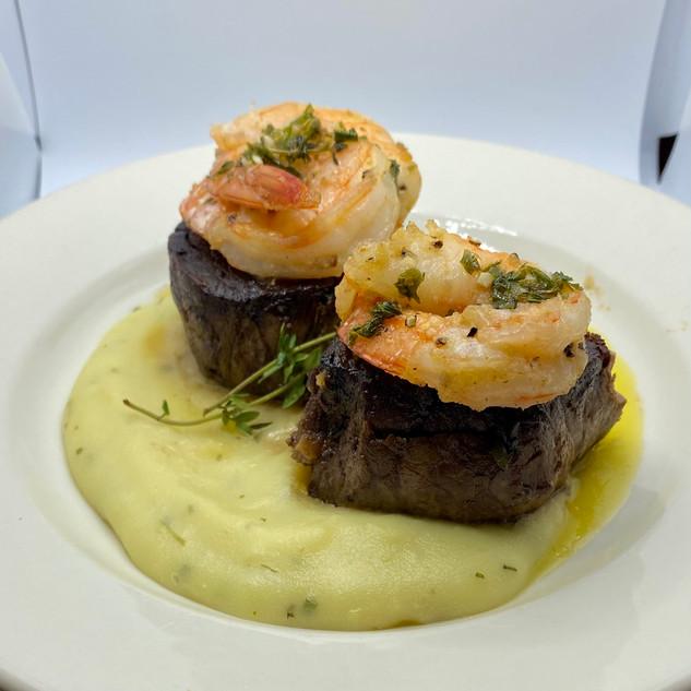 Filet Mignon and Grilled shrimp medium s