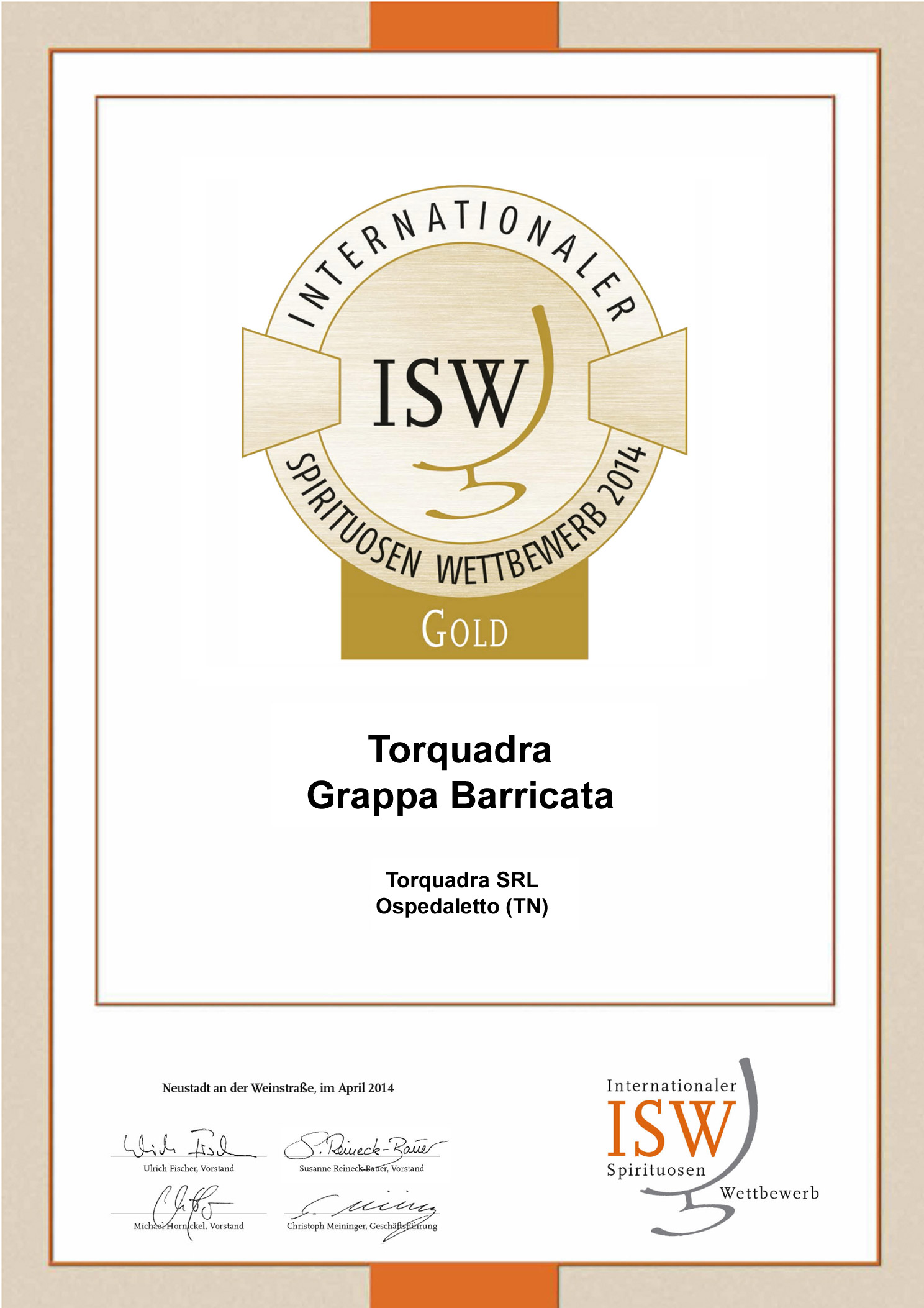 Gold Medal ISW 2014