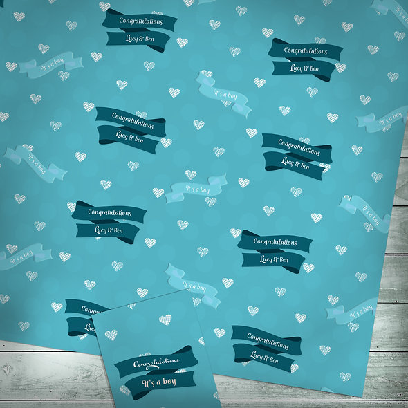 Personalised gift wrap | Custom text / Blue