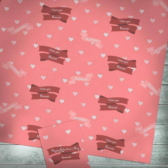Personalised gift wrap | Custom text / Valentine red