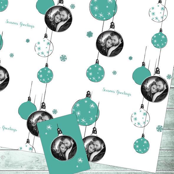 Personalised 'Festive' gift wrap | Couple Photo/ White