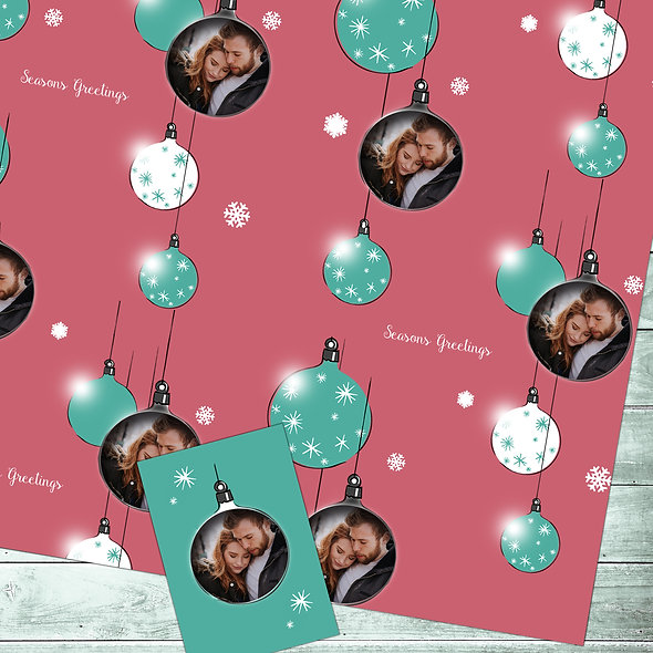 Personalised 'Festive' gift wrap | Couple Photo/ Red