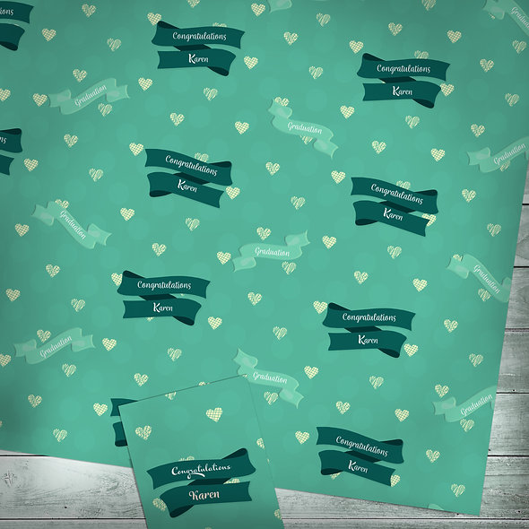 Personalised gift wrap | Custom text / green