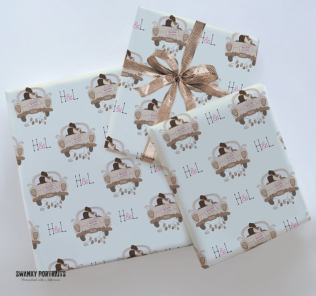 Personalised gift wrap | Custom text / Wedding car