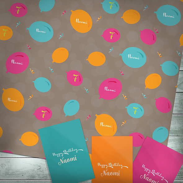 Personalised gift wrap | Custom text / Balloons