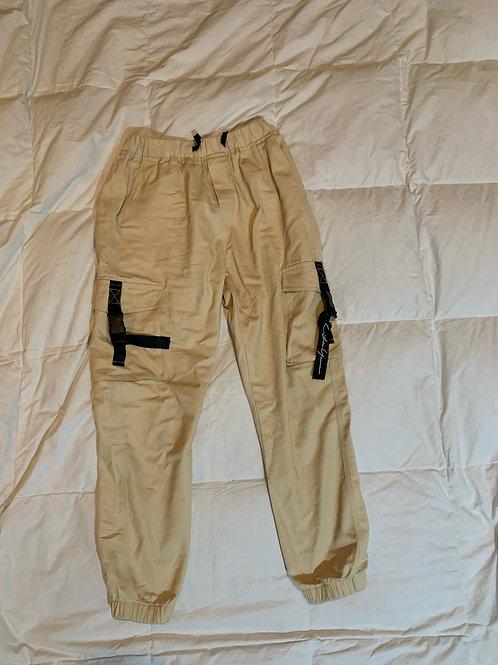 Light Beige Strap Cargo Pants