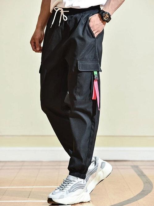 Black Strap Cargo Pants