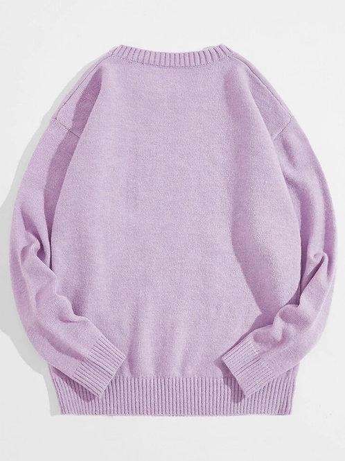 Light Purple Graphic Sweatshirt