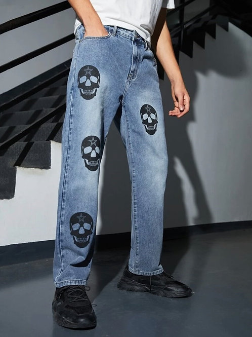 Skull Loose-Fit Jeans