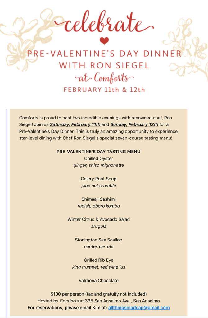 San Anselmo Pop Up with Celebrated Chef Ron  Siegel