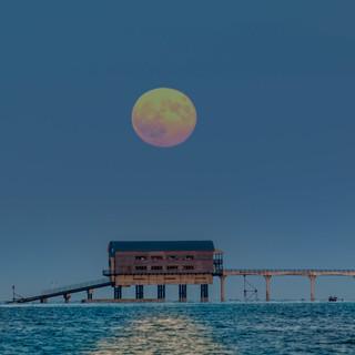 Full moon over Bembridge lifeboat statio