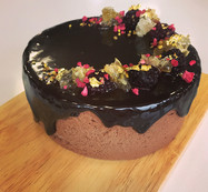 Caramelised Chocolate Mousse Cake with Blackberry and Honey.
