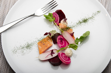 Smoked Trout and Beetroot with a Dill Powder