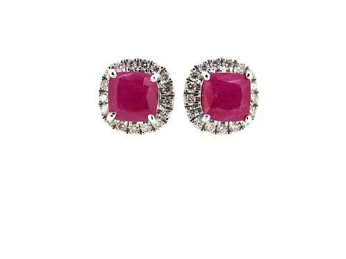 18ct Naturel diamond and ruby studs.