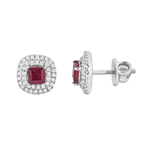 Platinum Ruby and diamond earrings