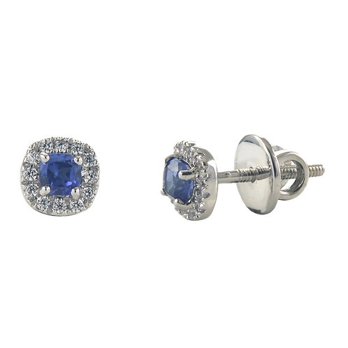 Cushion shape Sapphire and diamond earrings