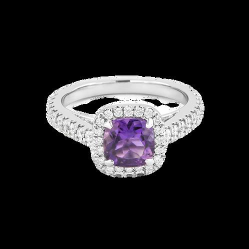 Cushion cut diamond ring.