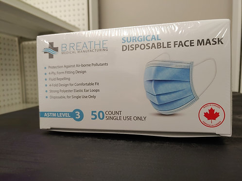 ASTM Level 3 Surgical Masks (50/box) Canadian Made,