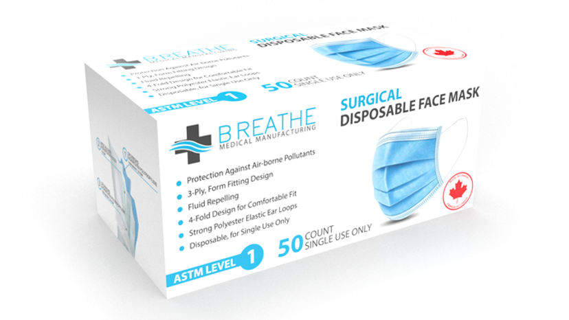ASTM Level 1 Surgical Mask's  (50/box) 10 case minimum