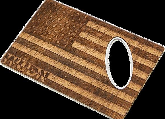 American Flag Wood Credit Card Bottle Opener