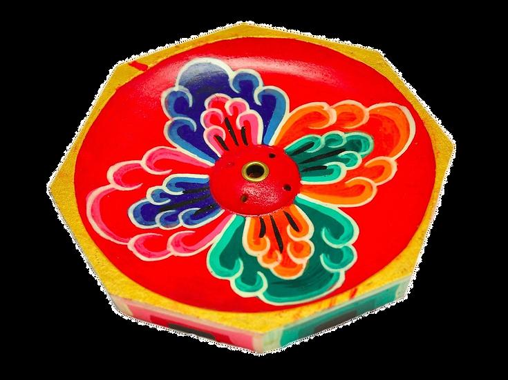 Incensário Butanês Madeira Pintada