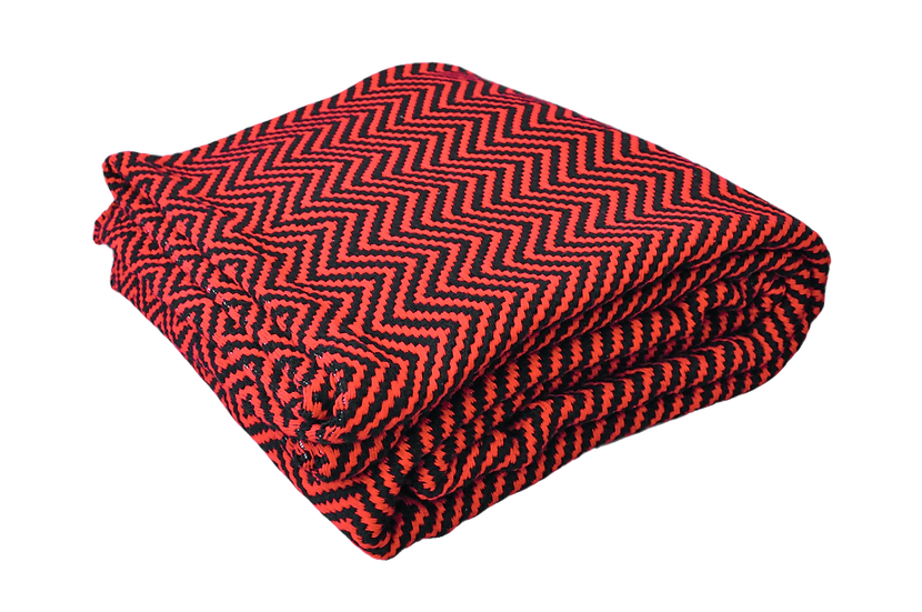 Red and Black Zig-Zag Geometric Rug
