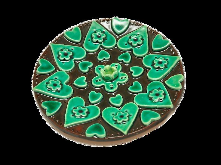 Green Incense Burner Mandala Hearts and Flowers