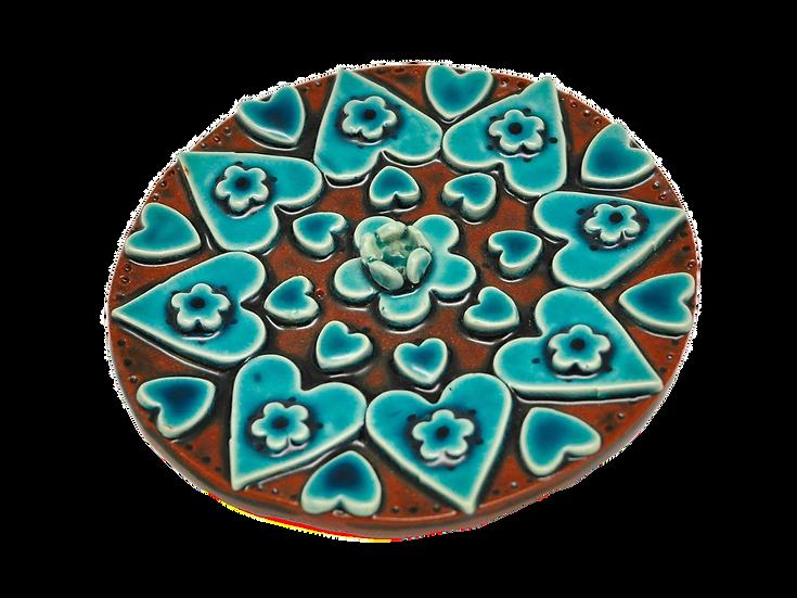 Turquoise Incense Burner Mandala Hearts and Flowers