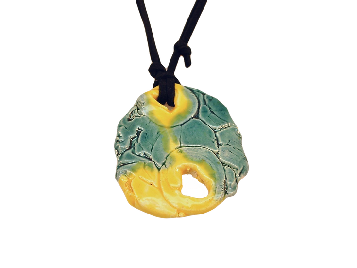 Abstract Green/Yellow Ceramic Necklace