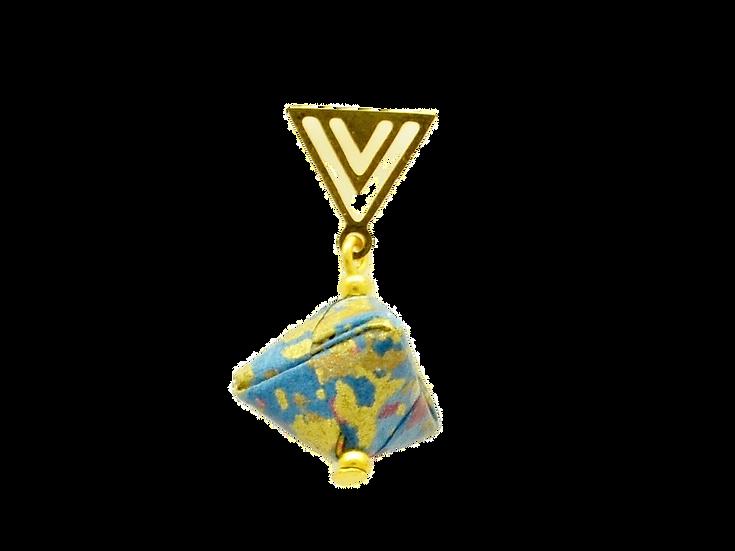 Mayumi Origami Golden Blue Triangle Earring