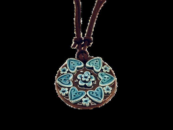 Blue Jeans Ceramic Mandala Necklace