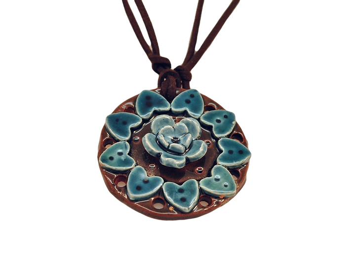 Big Turquoise Ceramic Mandala Necklace