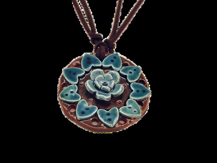 Colar Mandala de Cerâmica Turquesa Grande
