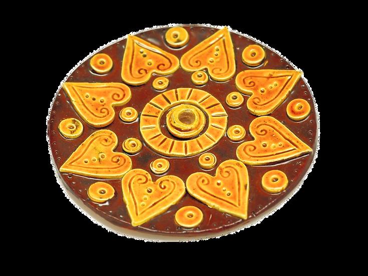 Honey Green Incense Burner Mandala Small Hearts